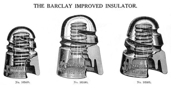 Brookfield CD 110, 147 & 150 style Barclay spiral groove insulators